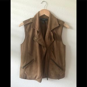 Forever 21 faux suede moto vest size Small